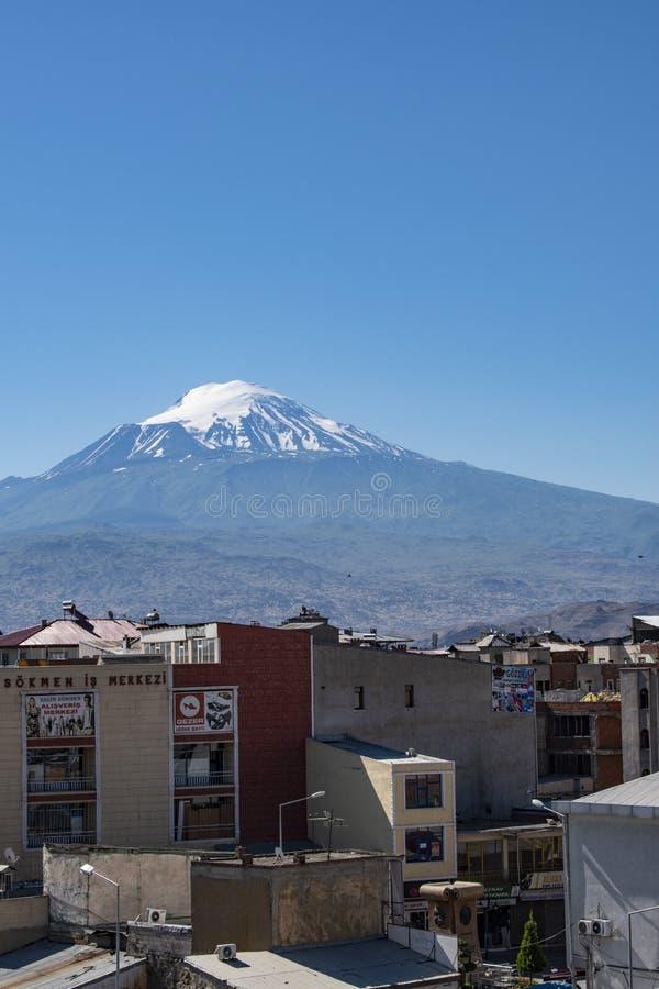 Le mont Ararat, Agri Dagi, montagne, horizon, volcan, Igdir, Turquie, Moyen-Orient, paysage, vue aérienne, Noé, arche images stock