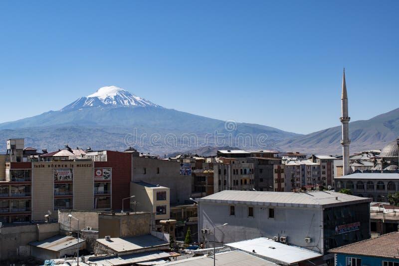 Le mont Ararat, Agri Dagi, montagne, horizon, volcan, Igdir, Turquie, Moyen-Orient, paysage, vue aérienne, Noé, arche image stock