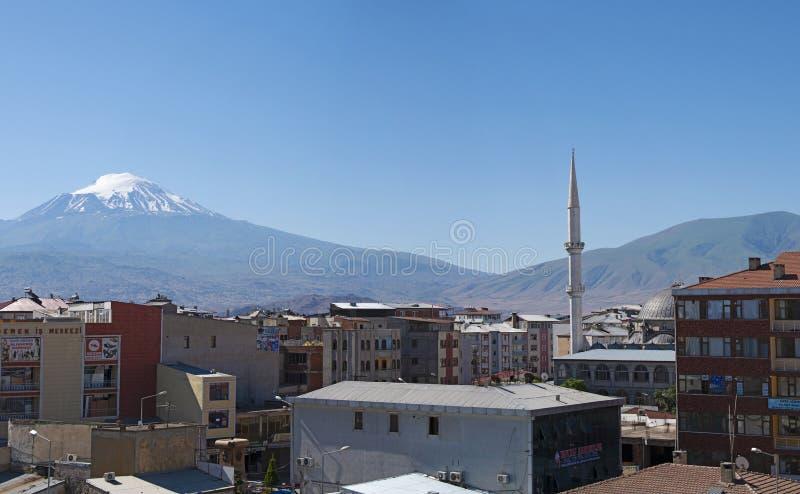 Le mont Ararat, Agri Dagi, montagne, horizon, volcan, Igdir, Turquie, Moyen-Orient, paysage, vue aérienne, Noé, arche photos libres de droits