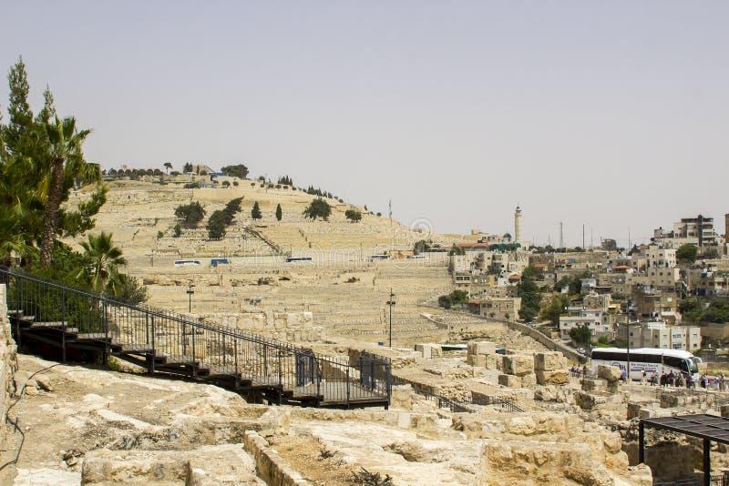 Le mont des Oliviers vu du mur du sud du temple MOIS image stock