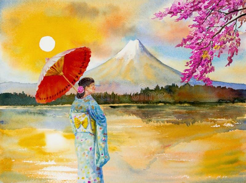 Le mont Fuji, kawaguchiko de lac dans le coucher du soleil illustration de vecteur