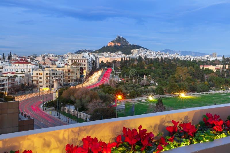 Le mont Lycabette à Athènes, Grèce photographie stock libre de droits