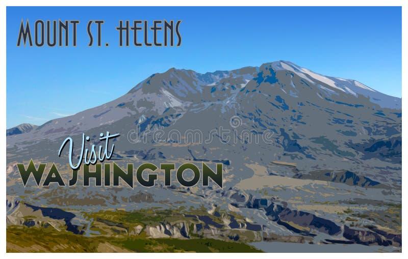 Le Mont Saint Helens, illustration de style de tourisme de vintage de WA photos libres de droits