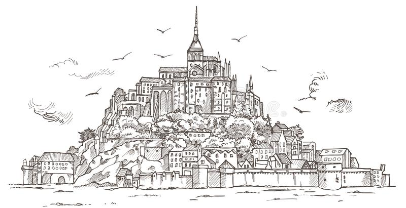 Le Mont Saint Michel, Normandie, Frankrike royaltyfri illustrationer