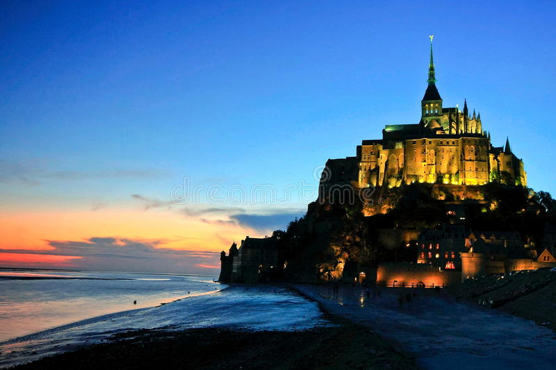 Le Mont Saint Michel. Normandy France. One of Frances most recognisable landmarks,  is part of the UNESCO list of World Heritage Sites with more than 3 million stock photo
