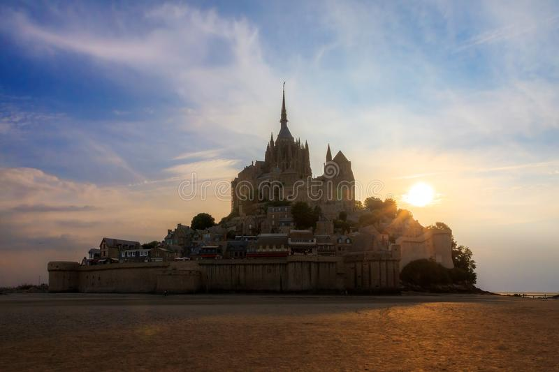 Le Mont Saint-Michel summer sunset stock images