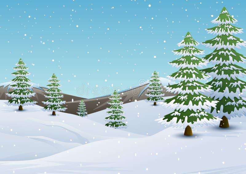 Le montagne dell'inverno abbelliscono con gli abeti e la neve di caduta illustrazione di stock