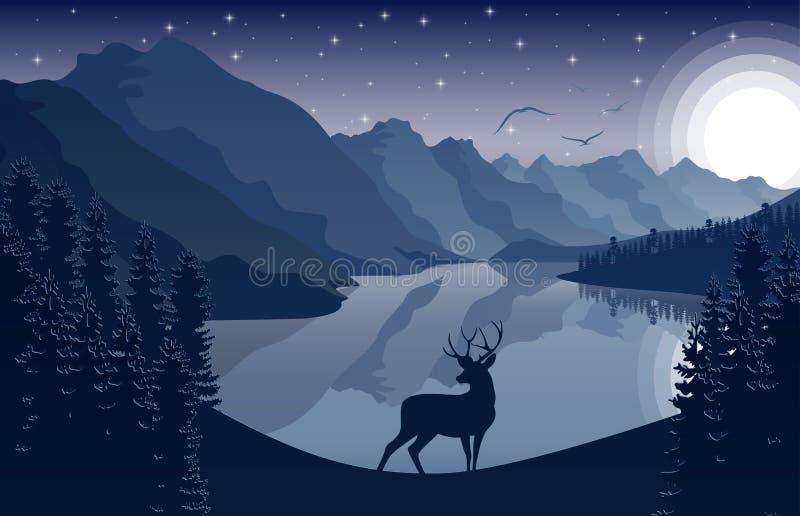 Le montagne di notte abbelliscono con i cervi e le stelle sul cielo illustrazione vettoriale