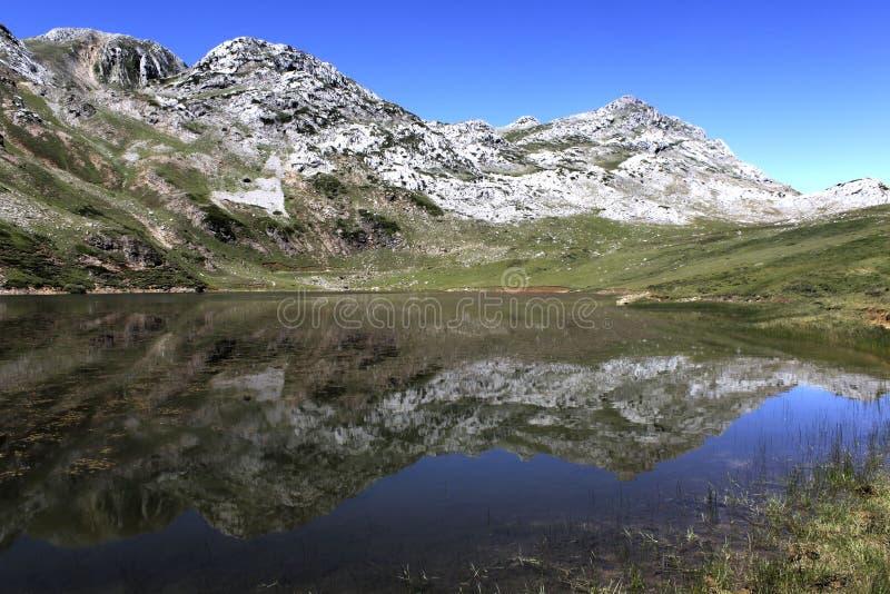 Le montagne hanno riflesso nel lago in un giorno soleggiato immagine stock libera da diritti