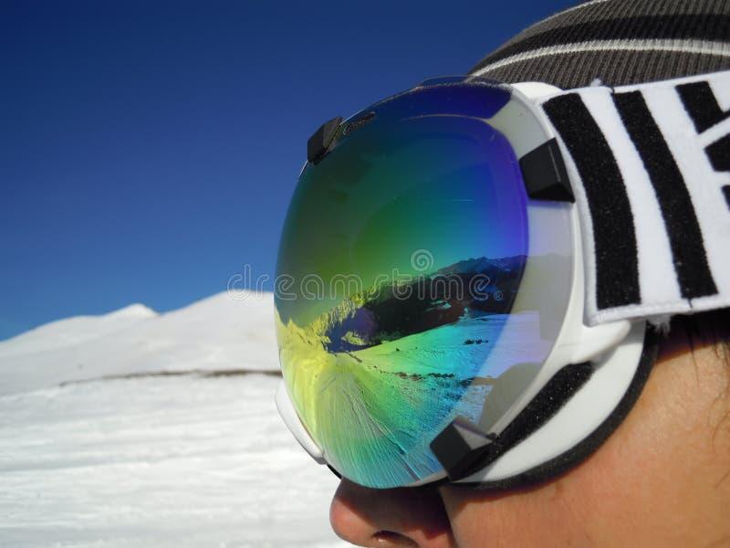 Le montagne hanno riflesso in vetri fotografia stock libera da diritti