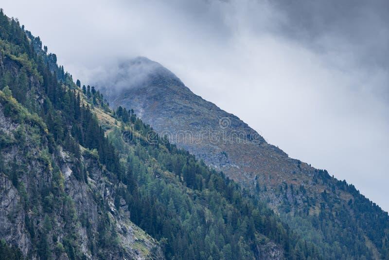 Le montagne, i picchi, il lago, il ghiaccio eterno e gli alberi abbelliscono Ambiente naturale di Kaunertaler Gletscher Facendo u immagini stock libere da diritti
