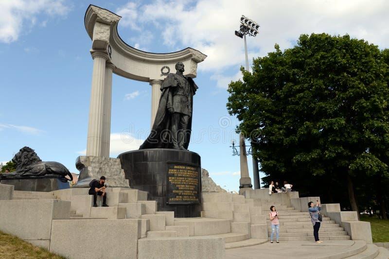 Le monument à Alexandre II le libérateur, près de la cathédrale du Christ le sauveur à Moscou photo stock