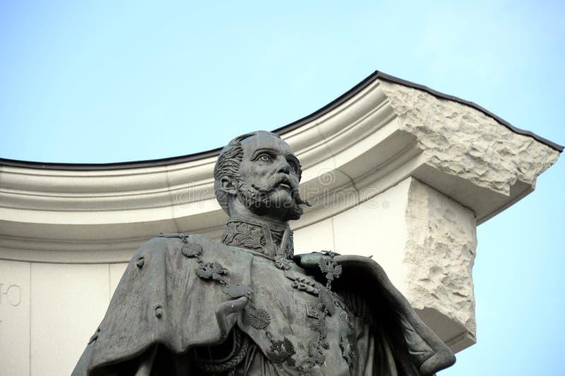 Le monument à Alexandre II le libérateur, près de la cathédrale du Christ le sauveur à Moscou photo libre de droits