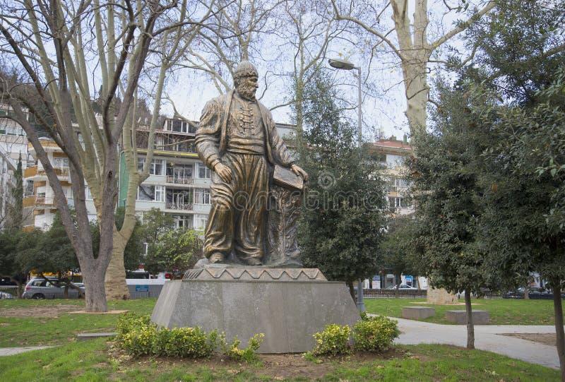 Le monument au poète Fuzuli Muhammad Ibn Sulayman dans le secteur de Bebek Istanbul image libre de droits