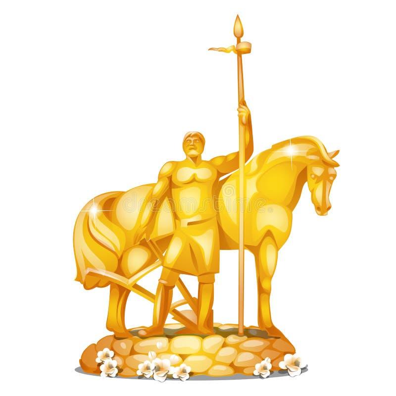 Le monument au premier colon dans la ville russe Penza a fait de l'or d'isolement sur le fond blanc Plan rapproché de bande dessi illustration libre de droits