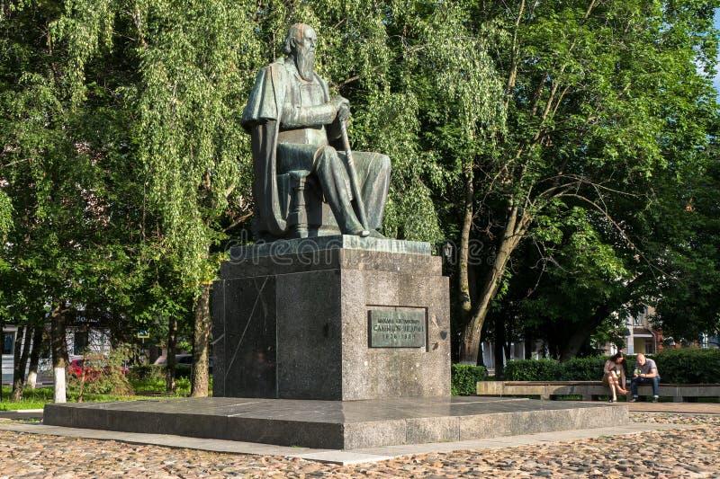 Le monument au satirique russe principal du Saltykov-Shchedrin du 19ème siècle dans la ville de Tver, Russie photographie stock
