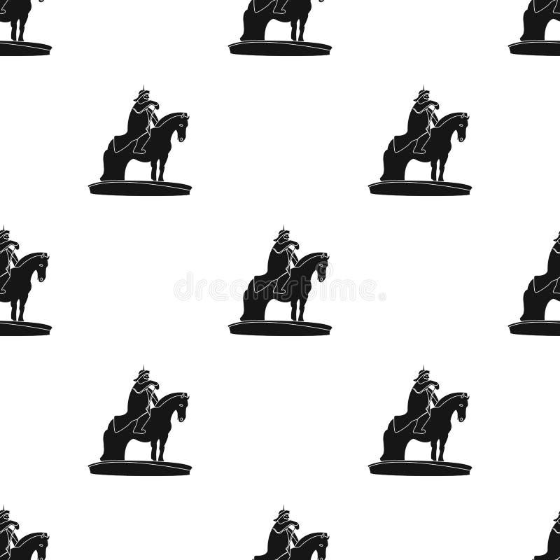 Le monument aux militaires de la Mongolie à cheval La statue se tient en Mongolie Icône simple de la Mongolie dans le style noir illustration stock