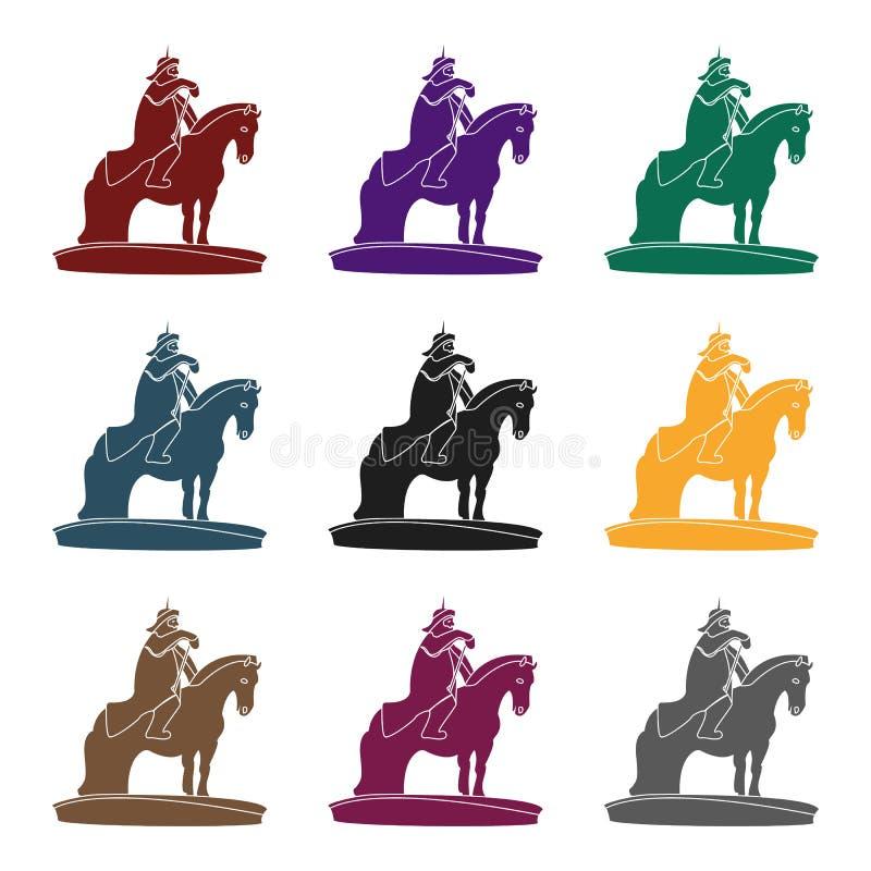 Le monument aux militaires de la Mongolie à cheval La statue se tient en Mongolie Icône simple de la Mongolie dans le style noir illustration libre de droits