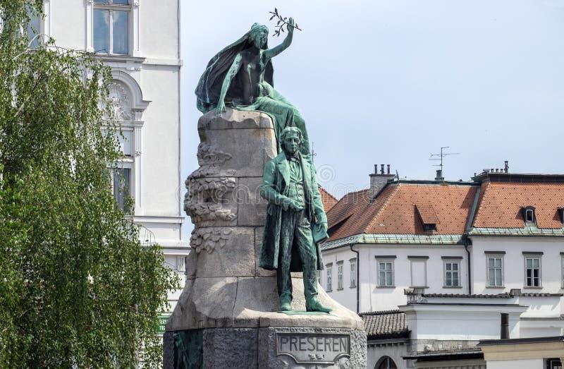 Le monument de la France Preseren, un poète slovène national photographie stock libre de droits