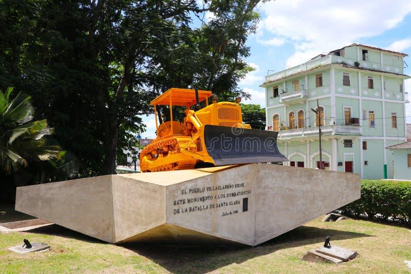 Le monument du tren le blindado avec le bouteur en Santa Clara, Cuba image libre de droits