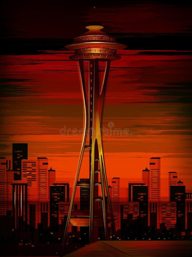 Le monument historique de renommée mondiale de tour d'aiguille de l'espace de Seattle, Washington illustration stock