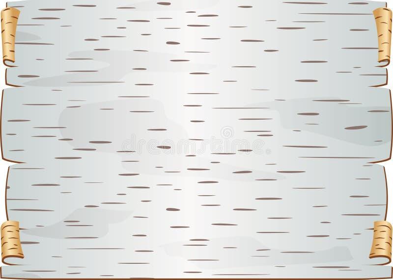 Le morceau d'écorce de bouleau a tordu et a bouché le blanc pour l'épître illustration stock