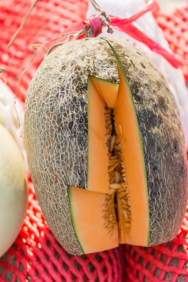 Le morceau de melon orange cutted pour le goût d'essai images libres de droits