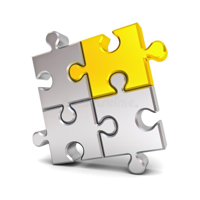 Le morceau de puzzle denteux d'or se tiennent du concept différent d'idée de foule illustration de vecteur