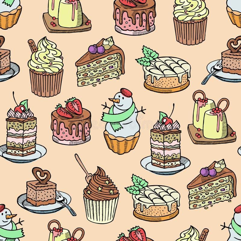 Le morceau de vecteur de gâteaux et de petits gâteaux de gâteau au fromage pour la partie de joyeux anniversaire a fait le gâteau illustration libre de droits