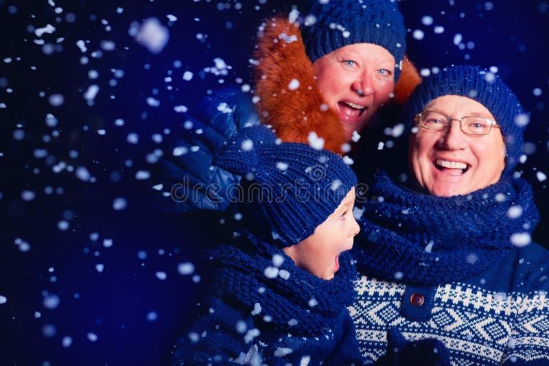 Le morföräldrar och sonsonen som har gyckel under snön arkivbild