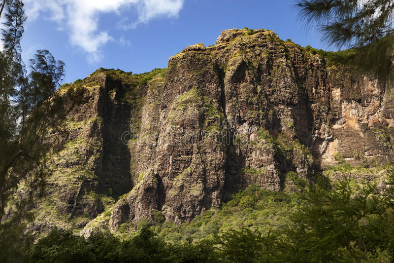 Le Morne Brabant mountain on the south of Mauritius.  royalty free stock image