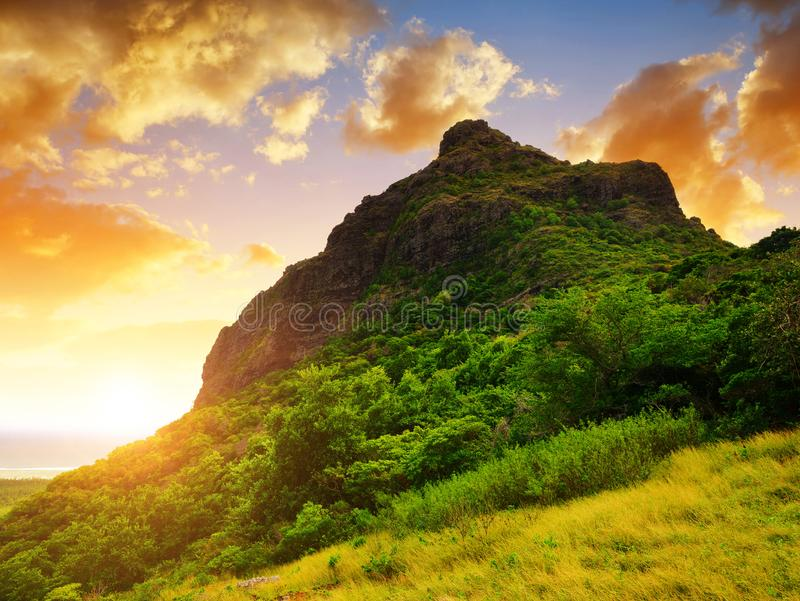Le Morne Brabant mountain on the south of Mauritius island. royalty free stock photos