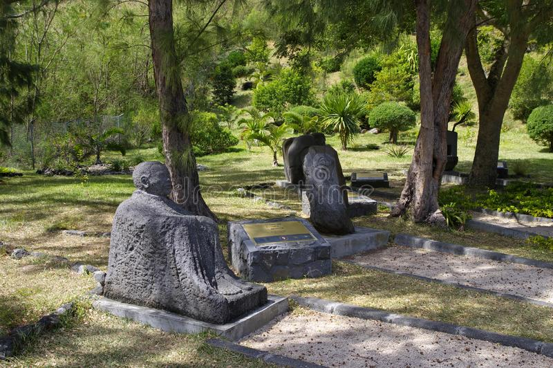 LE MORNE/MAURITIUS - AUGUST 23, 2018: Resistance statue dedicated to the slaves at Slave Route Monument museum established in. South of Mauritius island royalty free stock photography