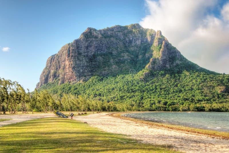 Le Morne mountain in Mauritius. Le Morne mountain on the south shore of Mauritius royalty free stock photo