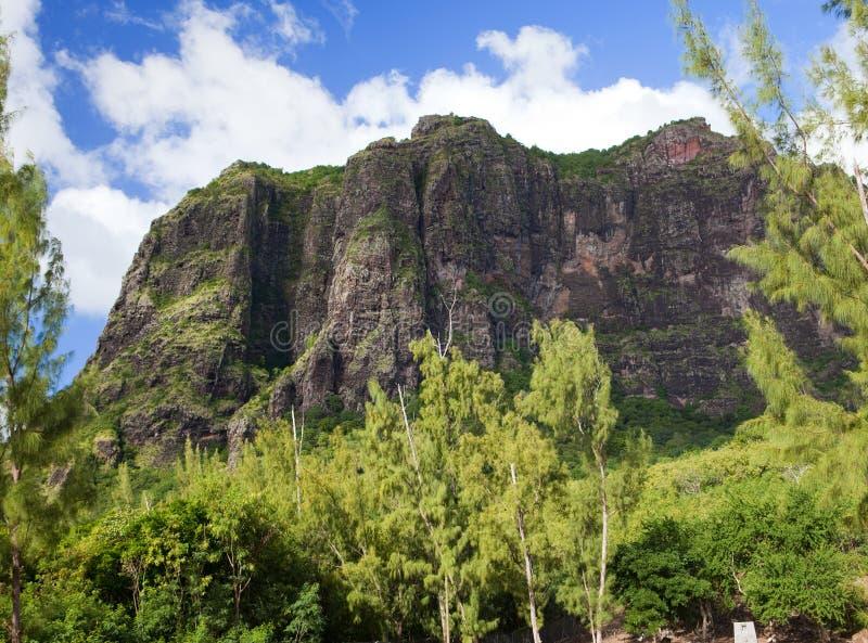 Le Morne mountain on the south of Mauritius against the cloudy sky. Le Morne mountain on south of Mauritius stock photo