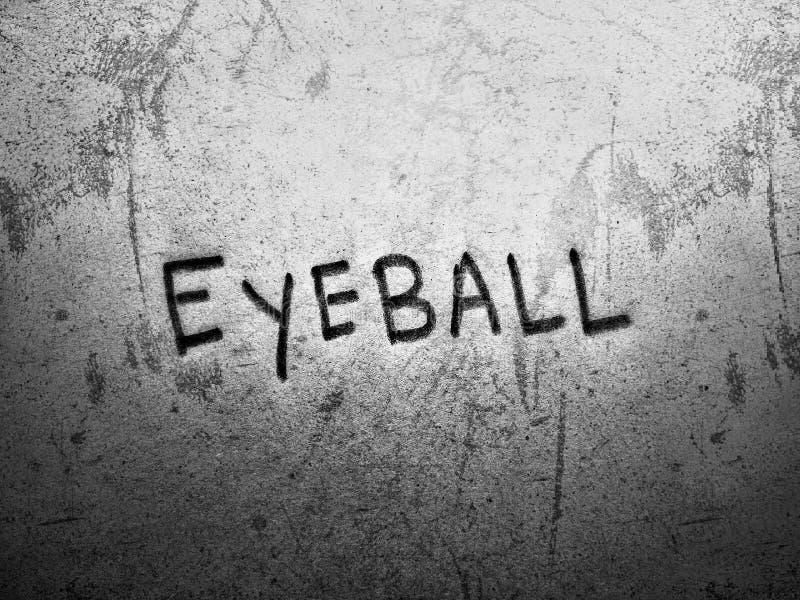 le mot anglais eyeball sur fond gris foncé rugueux et grunge arrière-plan écrit par texture de main crayon photo stock