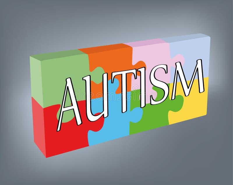 Le mot AUTISME dans la perspective des puzzles Illustration de vecteur illustration de vecteur