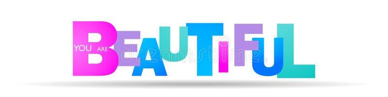 Le mot beau est écrit dans les lettres de différentes couleurs et de différentes tailles illustration stock