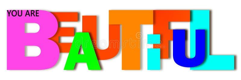 Le mot beau est écrit dans les lettres de différentes couleurs et de différentes tailles illustration de vecteur
