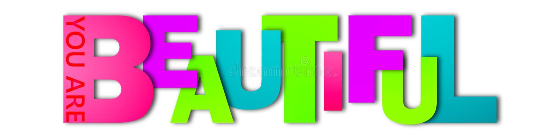 Le mot beau est écrit dans les lettres de différentes couleurs et de différentes tailles illustration libre de droits