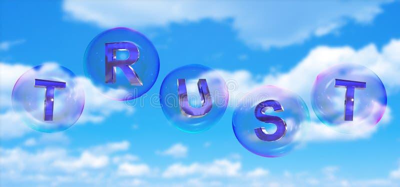 Le mot de confiance dans la bulle illustration libre de droits