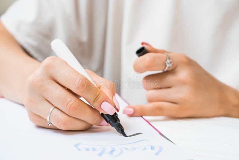 Le mot de pratiques en matière d'étudiant de calligraphe par écrit inspirent avec le marqueur vert sur la toile Fonctionnement cr photo stock