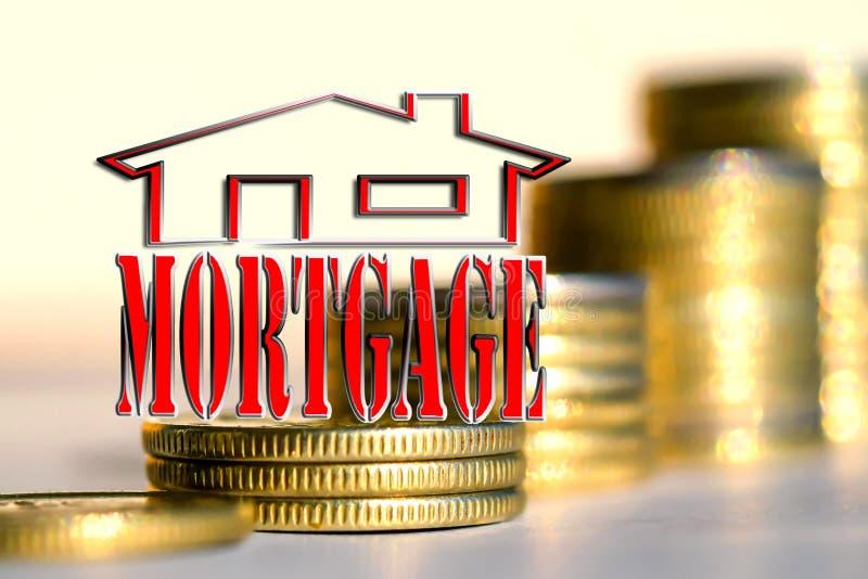 Le mot et le x22 ; mortgage& x22 ; à l'arrière-plan les colonnes des pièces de monnaie photo libre de droits