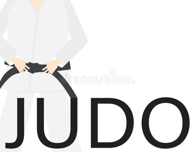 Le mot JUDO, uniformes blancs et ceinture noire d'isolement illustration de vecteur