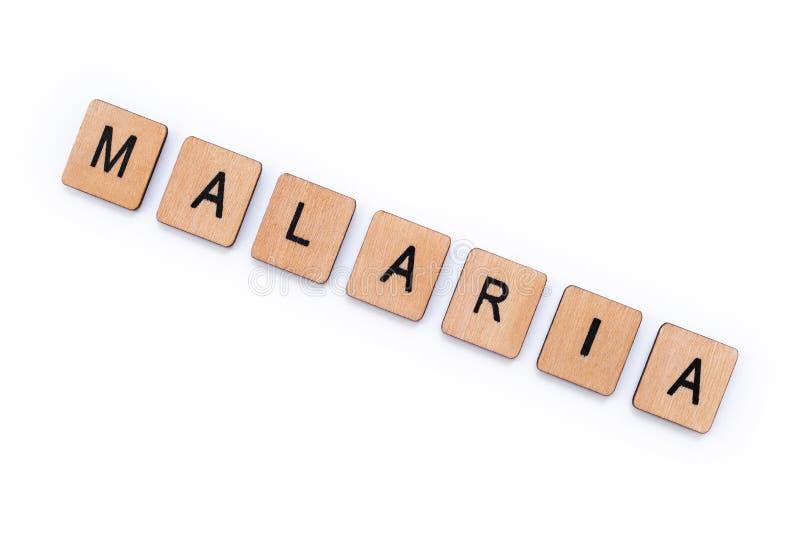 Le mot MALARIA photographie stock