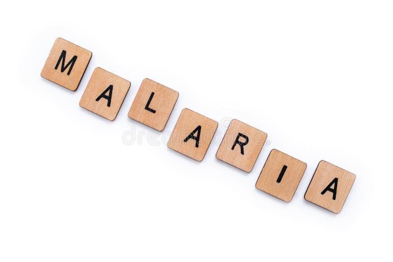 Le mot MALARIA image stock