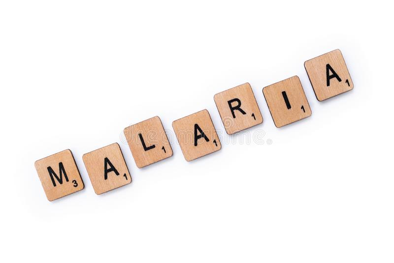 Le mot MALARIA photographie stock libre de droits