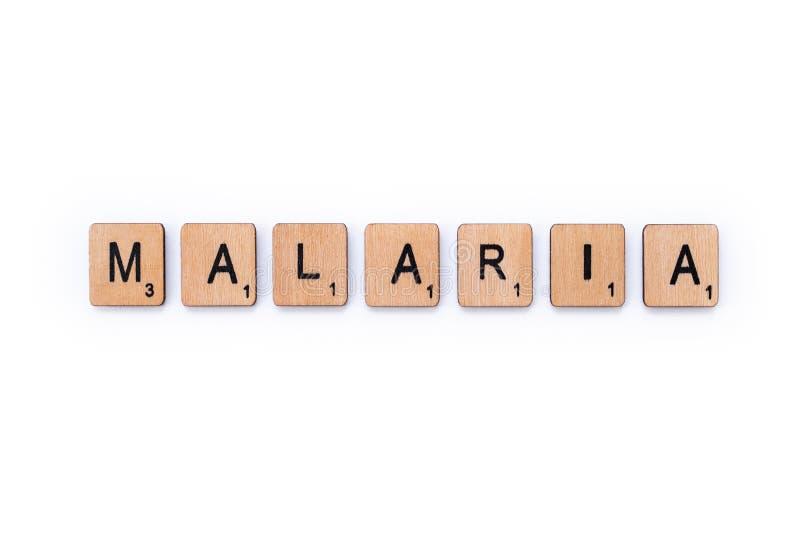 Le mot MALARIA image libre de droits