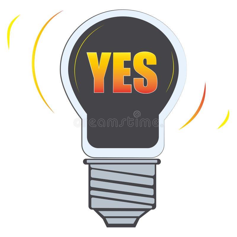 Le mot oui dans l'icône de vecteur de lumière de lampe illustration libre de droits