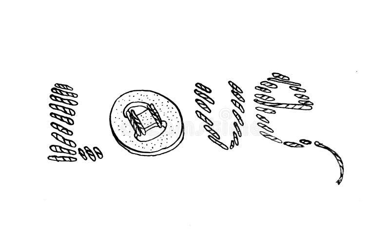 Le mot stylisé «amour» a fait du point de broderie et d'un bouton cousu illustration libre de droits